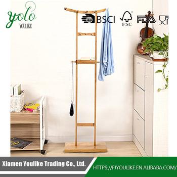 Creative Bamboo Wooden Living Room Multipurpose Clothes Rack Storage  Hanging Rack Shelf