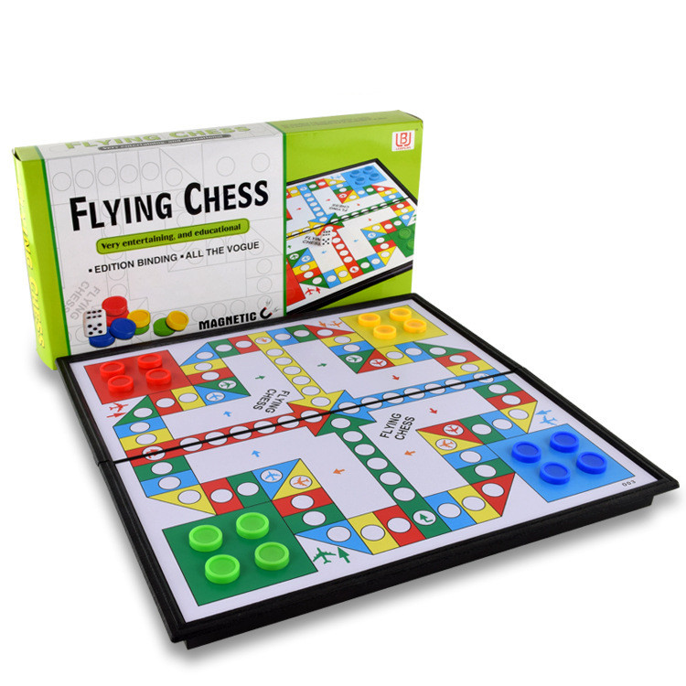Children folding magnetic portable educational toys flying chess ludo <strong>game</strong>