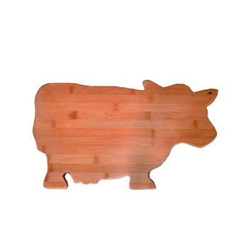 Whole Bamboo Cow Shaped Cutting Board Natural Cheese Charcuterie Serving Platter Vegetable Plastic