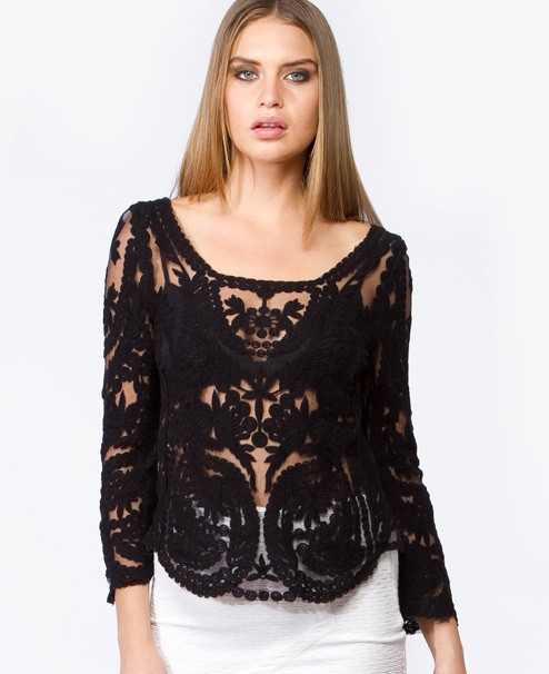 aefca7ff177dd Get Quotations · 2015 Dress Sweet Semi Sexy Sheer Long Sleeve Embroidery  Floral Lace Gauze Crochet Tee Top Beige