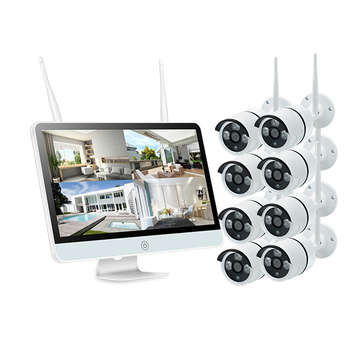 Home 8CH Outdoor Waterproof 1080P Security Camera System 15inch LCD Screen DVR NVR kit video