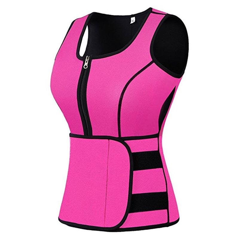 Womens Adjustable Neoprene Sauna Waist Trimmer Tops Sport Sweat Vest With Zipper, Black/red or customized colors