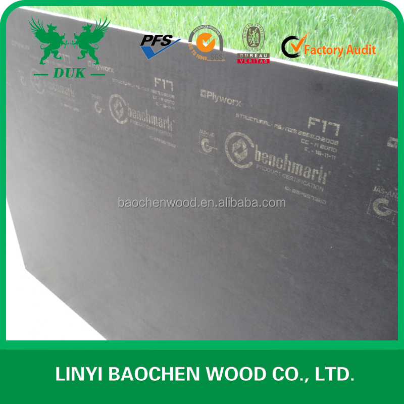 Top quality 1200*1800 * 17mm Black Film Faced F17 Standard Australia Construction Plywood For Sale