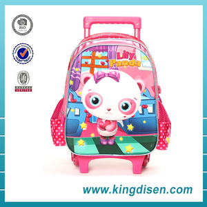 New style 3D polyester panda animal trolley school bag