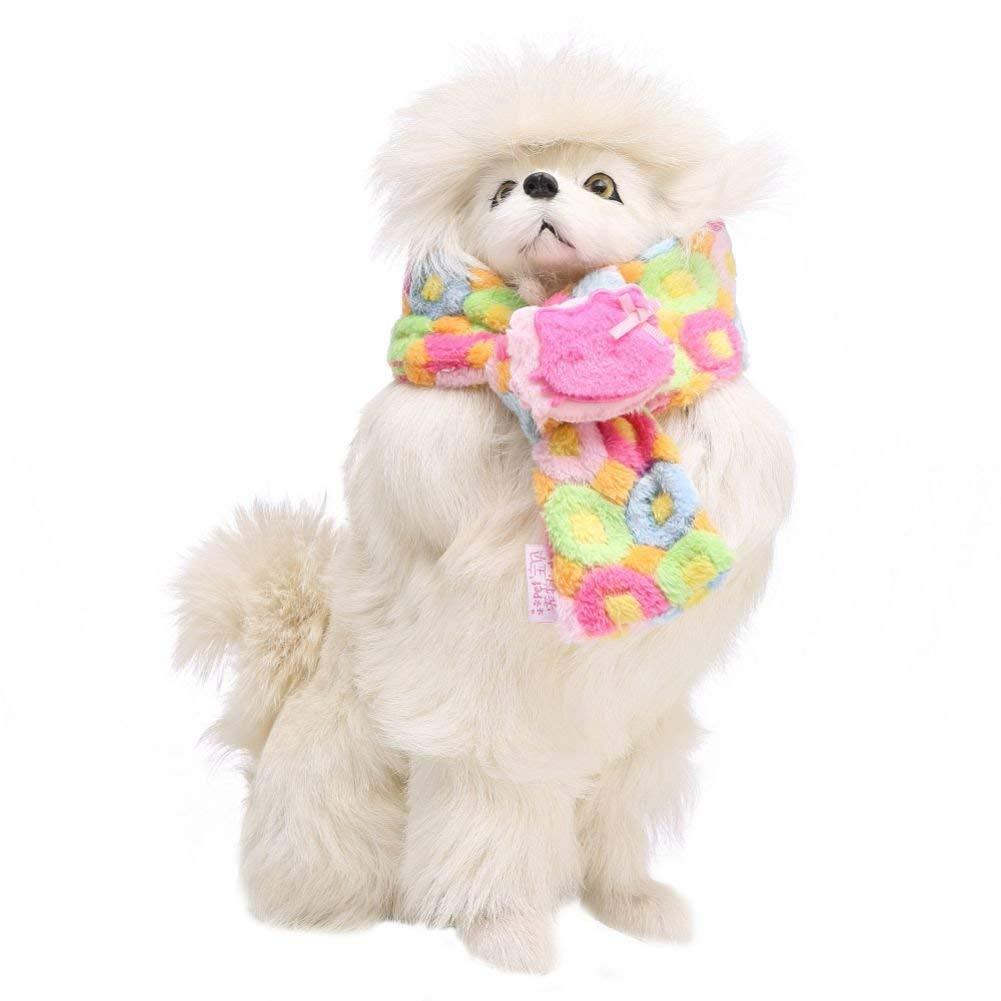 PanDaDa Pet Scarf dog coffee Color Circle Bowknot Heart Pattern Scarf Warm Scarf Furry Costume Soft Christmas Soft Warm Scarf