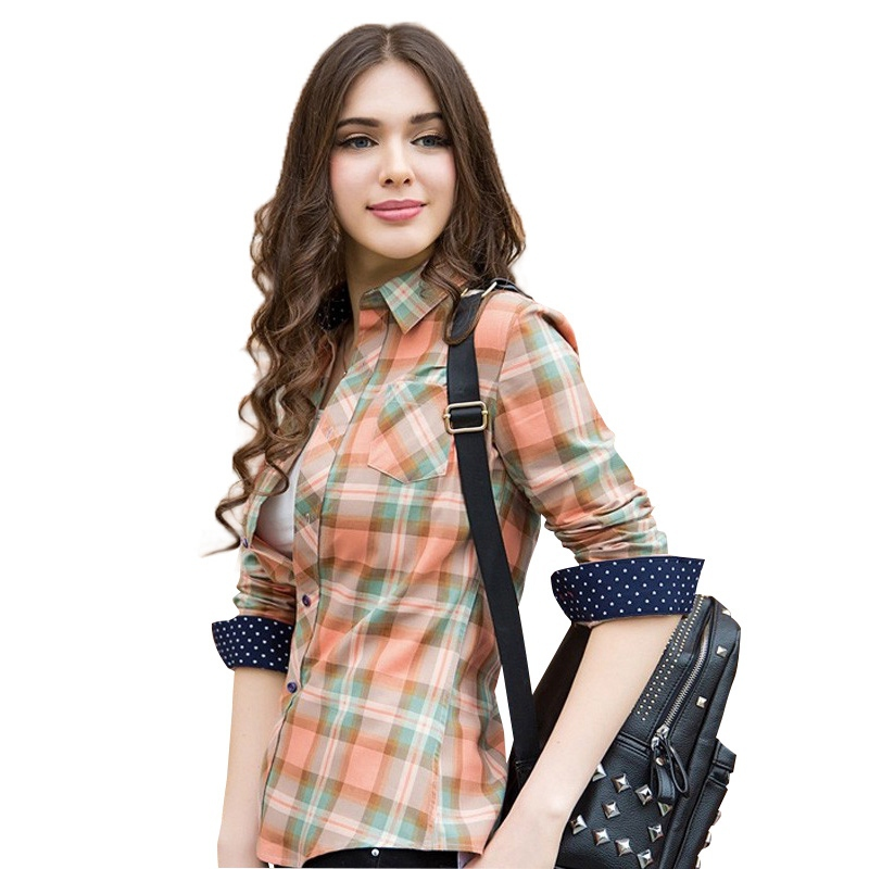0c57e84c7 Buy camisa xadrez feminina chemise femme camisas femininas feminine blusa  women shirts plaid shirt long sleeve big size playeras in Cheap Price on ...