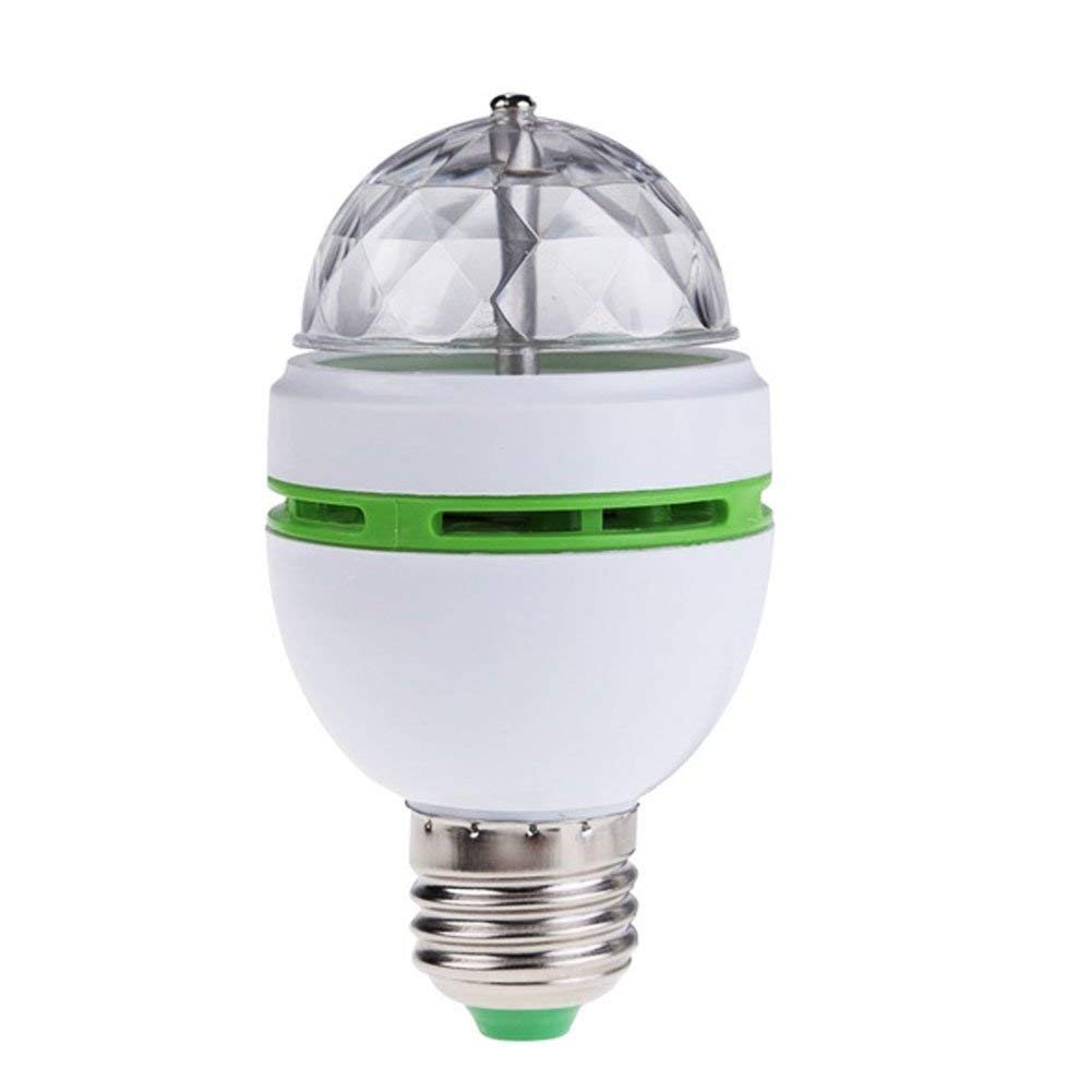 LED Disco Ball Lamp with E27 Base,Color Changing RGB Rotating Stage Light for Party,Clubs,Bars and Home (White)