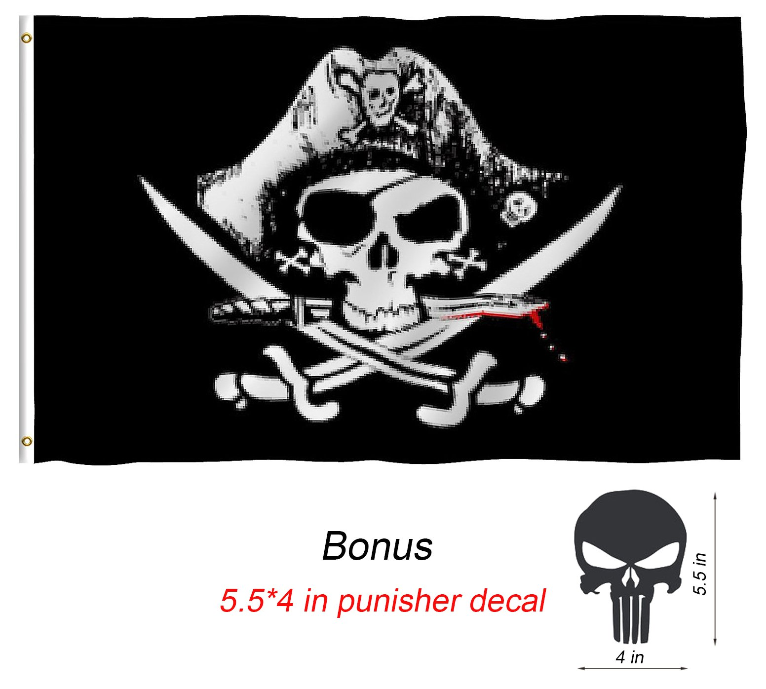 Pirate Flags, TOWEE 3 x 5 Ft 100% Polyester Captain Jack's Skull Banner Flag Jolly Roger Flags with Metal Rings for Sailing, Boating, Garden, Bar, Ghost House, KTV, Halloween and Christmas Flag