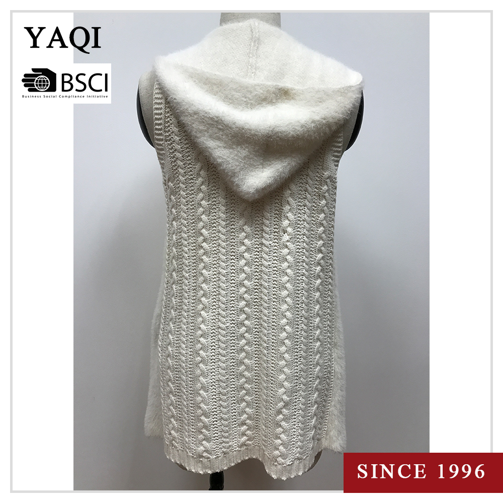 Women's Sleeveless Knit Hooded Cardigan Pattern Knitted Sweater ...