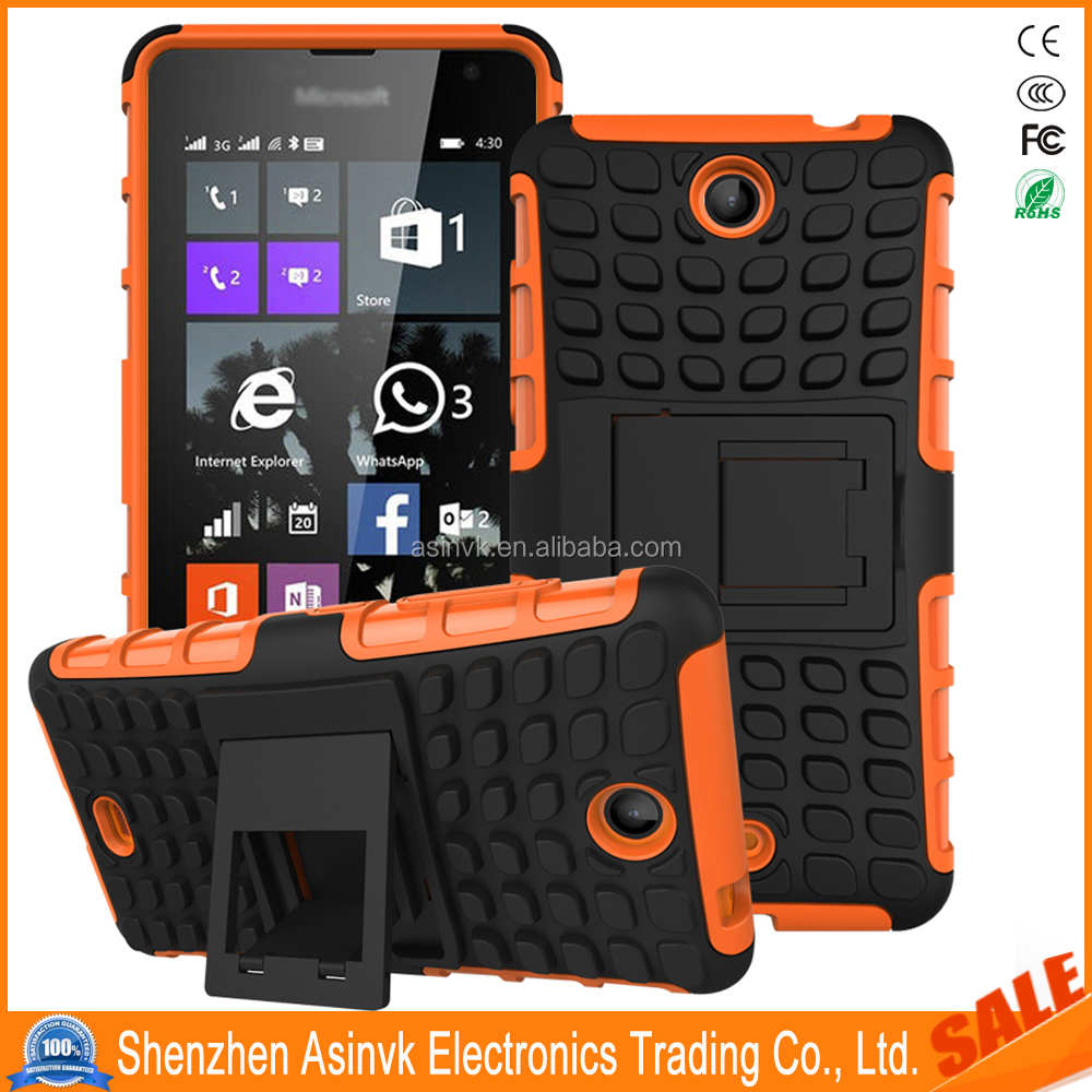 Anti-scratch Shockproof Dual Layer Heavy Duty Tpu+Pc Hybrid Armor Shock Absorbent case with Kickstand For Nokia Lumia 430