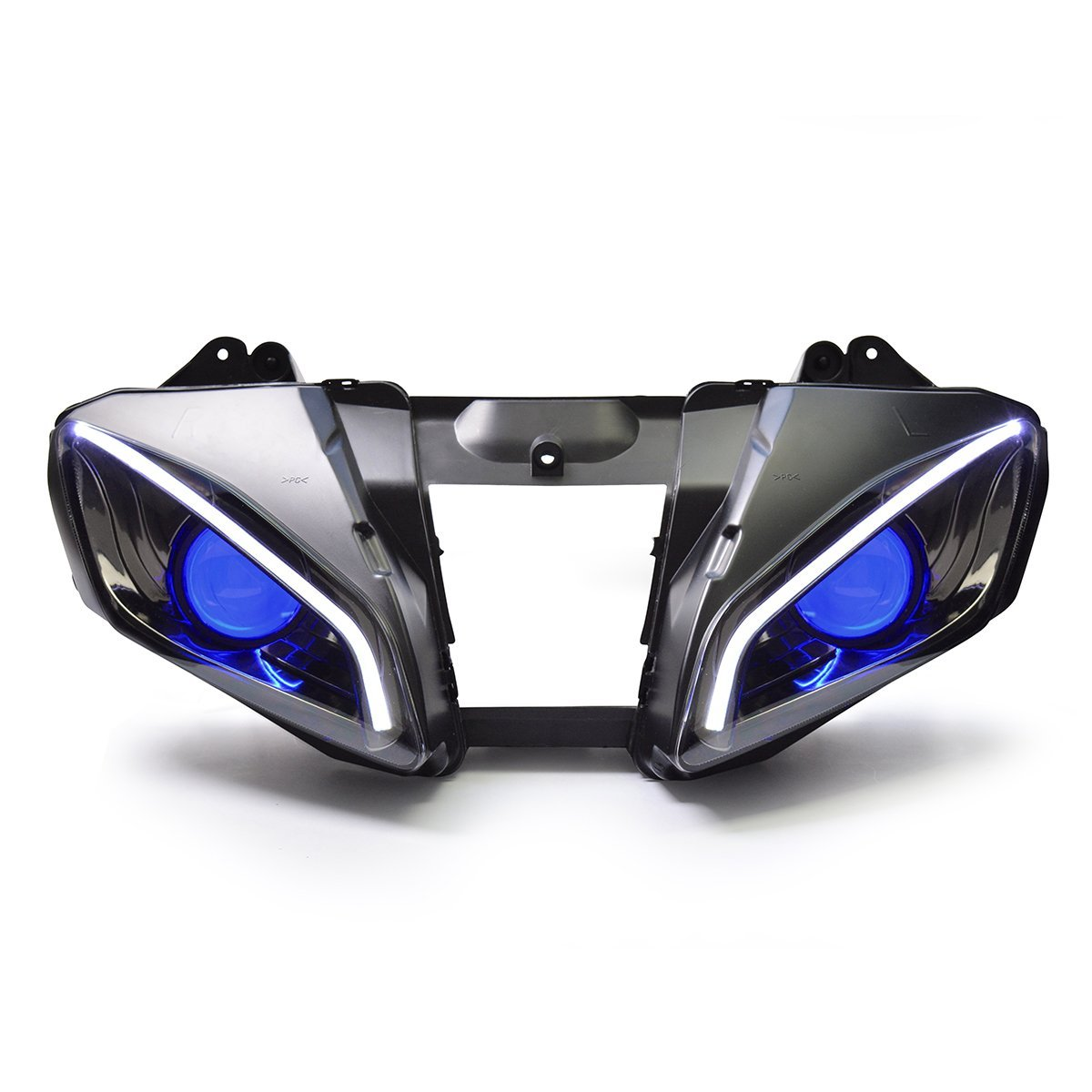 KT LED Optical Fiber Headlight Assembly for Yamaha R6 2006 2007 V2 Blue Demon Eye