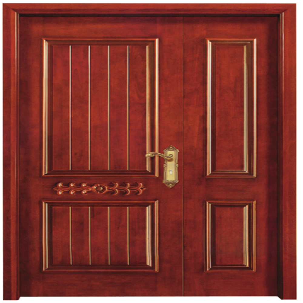 One stop customized Fancy double solid wooden timber doors
