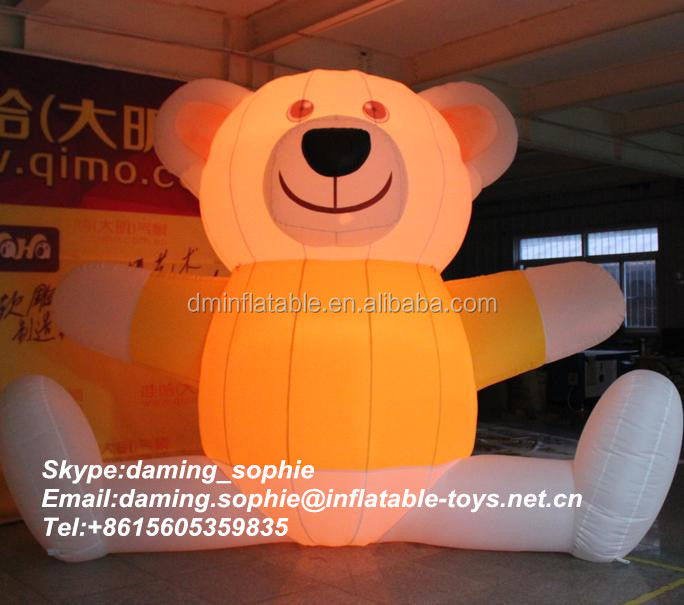 Lighting inflatable bear cartoon with T-shirt for advertising