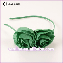 2017 new fancy cool style green natural flower kids headband for summer and spring