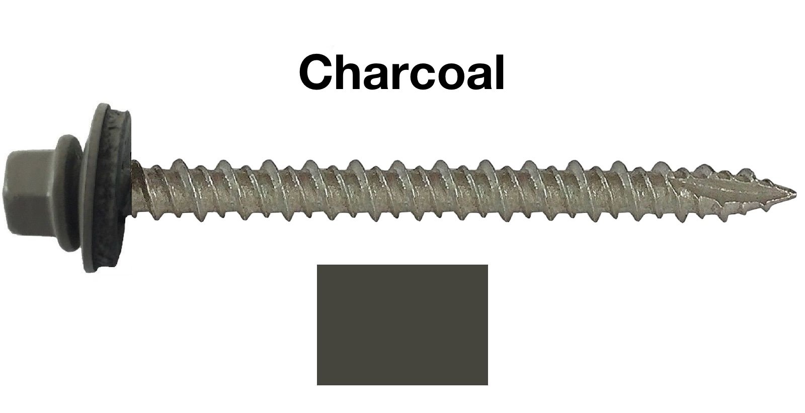 "#10 Metal ROOFING SCREWS: (250) Screws x 3"" CHARCOAL Hex Head Sheet Metal Roof Screw. Self starting/tapping metal to wood, sheet metal siding screws ~ EPDM washer ~For corrugated roofing"