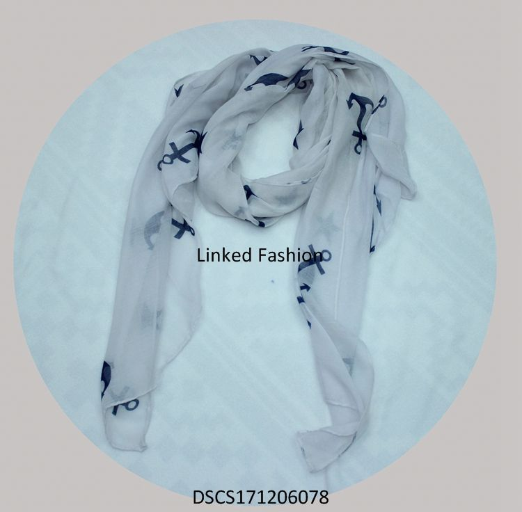 two layer chiffon lady pendant scarf with white real stone