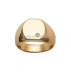 18k Gold Plated Clear Cubic Zirconia Luxury Round Signet Ring
