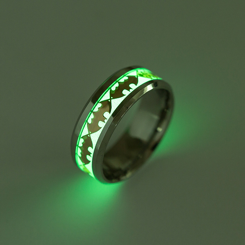 Fashion Luminous Ring New Arrival Batman Ring Glow In The Dark Titanium Steel Ring
