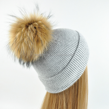 New Design Real Fur Ball Angora Beanies Hat Ladies Knitted Hats Women  Fashion Fur Hat 90f94f9fac0