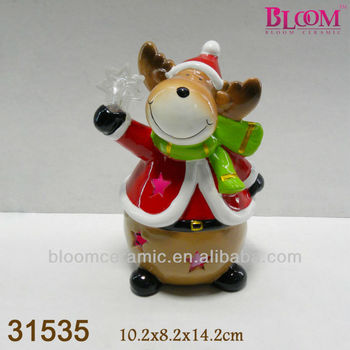 Led light ceramic indoor christmas decorations reindeer for Indoor christmas decorations sale