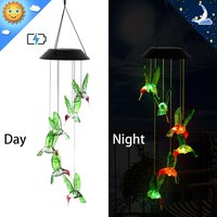 Changing Color Waterproof Six Solar Hummingbird Wind Chimes For Home Party Night Garden Decoration