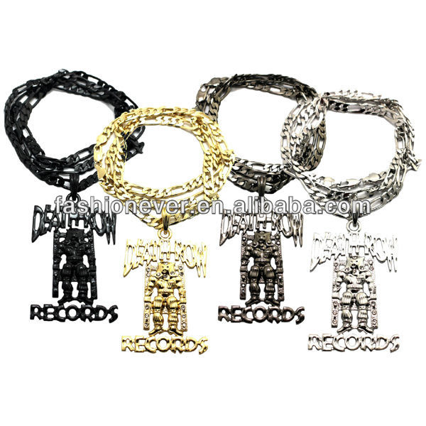 "Death Row Records Inspired Iced Out Hip Hop Pendant Necklace 24"" Figaro Chain"