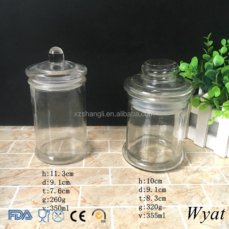 Cheap Round 350ml 12oz Glass Food Container Jars Glass Cookie Jars with Lids