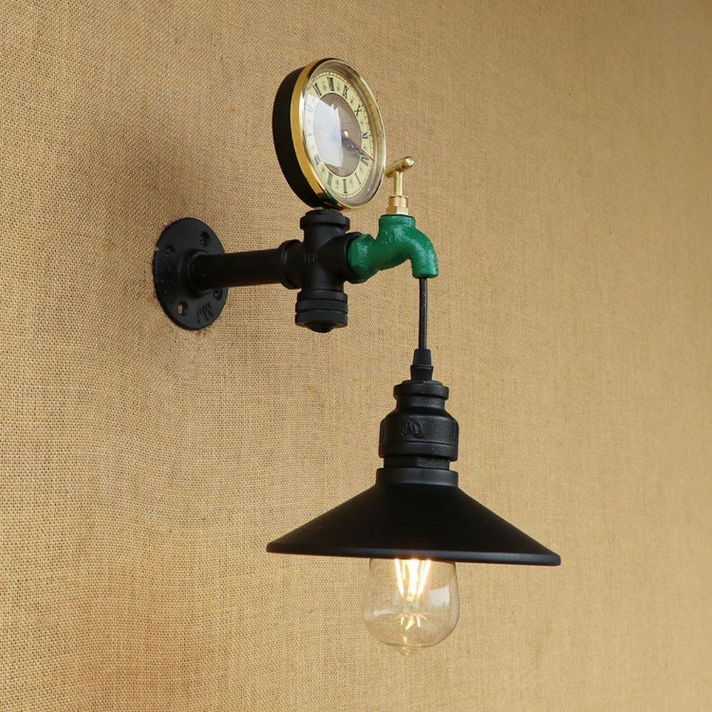 Buy Industrial pipe wall lamp retro den bookshelves creative cafe ...