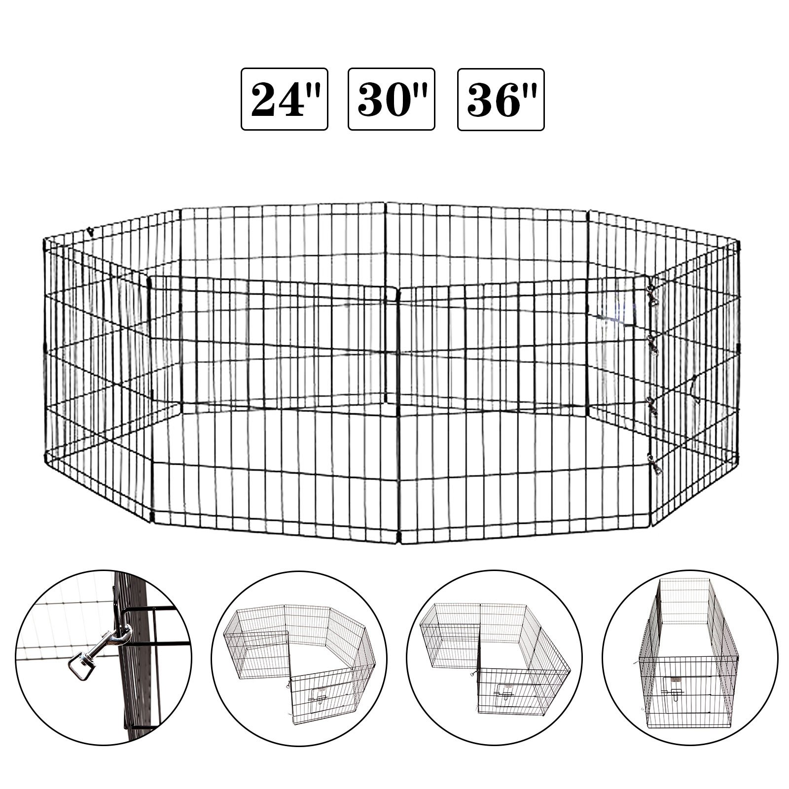 Idealchoiceproduct Pet Playpen Pet Pen Folding Wire Dog Exercise Pen Pet Fence Yard Fence 8 Panel Cage 24-42 Inch-Black Color