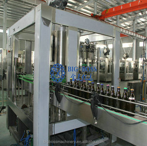 Rotary 3-in-1 automatic glass bottle beer washing filling sealing machine