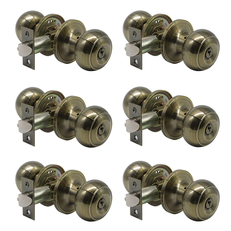 Probrico Entrance Door Knobs Door Lock Keyed Alike Lockset Antique Brass Same Key Round Ball Entry Door Knobs Pack of 6