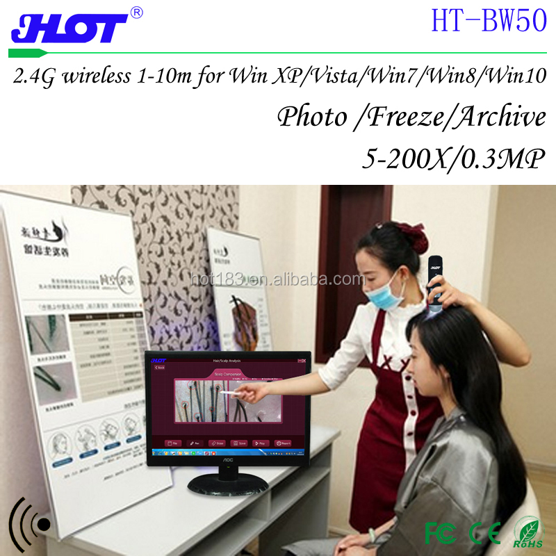 HOT HT-BW50 Hair follicles detection probe supplierr skin and hair detection pen 2.4G wireless digital microscope