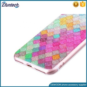 Luxury IMD TPU Colorful fish scales design shining glitter cell phone case  for iphone 7 plus case