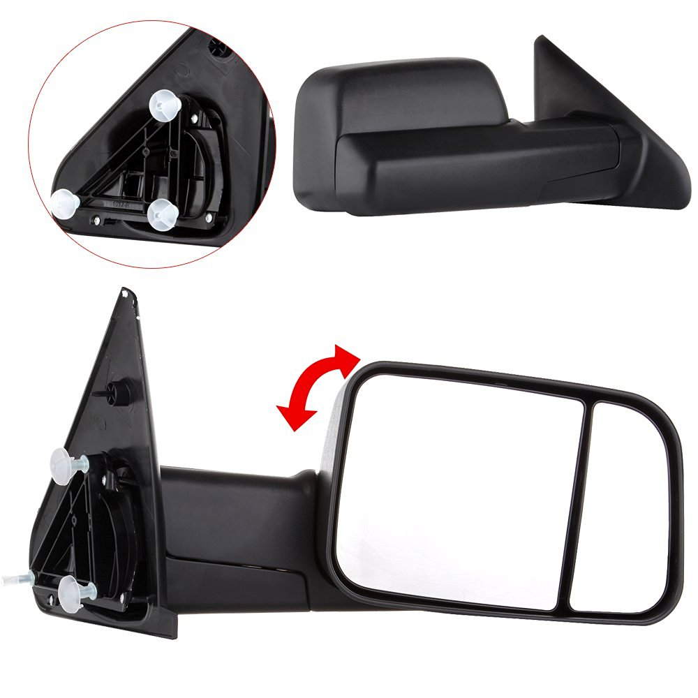 Scitoo Manual Operation Side View Towing Mirrors Black Rear View Rearview Mirrors with Driver & Passenger Side Tow Mirror Pair for 02-09 Dodge Ram Truck (2002-2009 Manual)