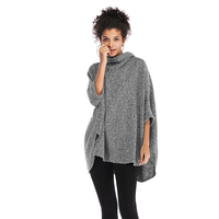 NEW design winter grey batwing sleeve irregular pullover cloak casual turtleneck knitwear sweater poncho women