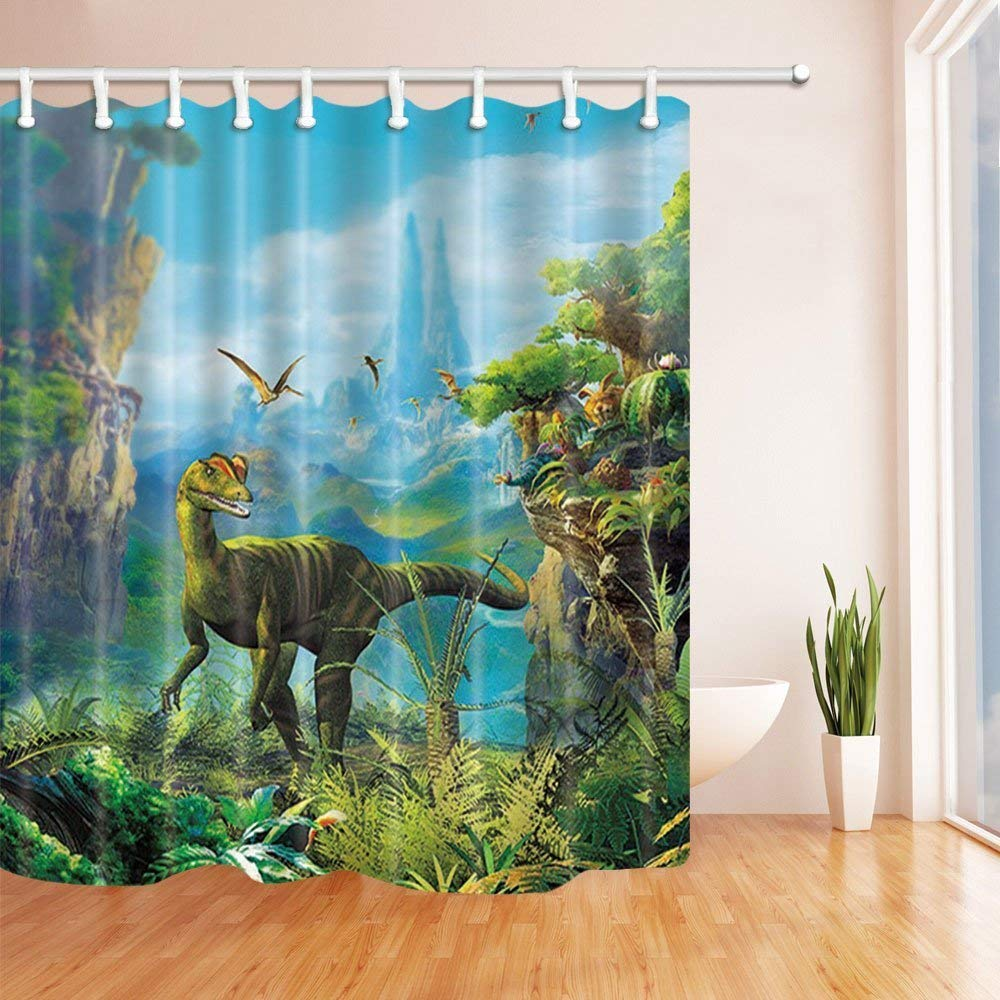 Get Quotations GoEoo Ancient Time Decor Dinosaur On Mountain With Forests Painting Shower Curtains Polyester Fabric Waterproof Bath