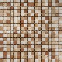 Brown and white marble stone tile travertine mosaic(CFS825)