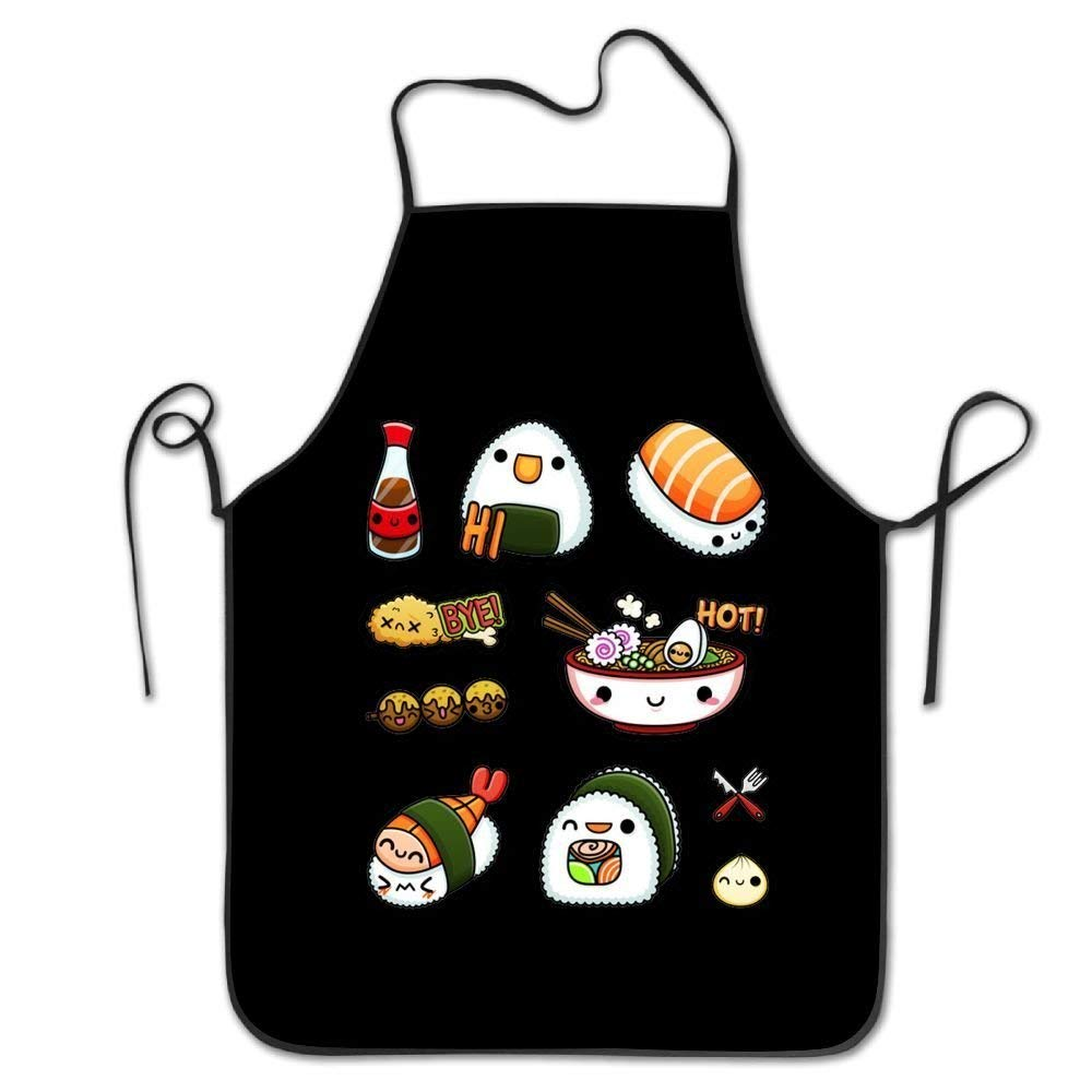 "HATS NEW Bahuluo Adjustable Apron for Cooking Grill Baking Restaurant for Waitress Women Men - 28.34"" X 20.47"" - Sushi Ramen Black"