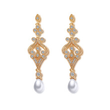 Wholesale indian wedding return gift 18k gold plated jewelry bridal long pearl earrings