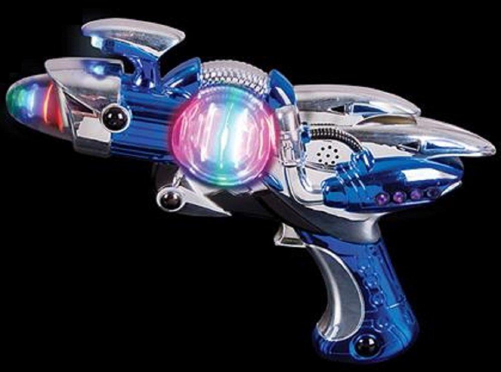 Light-Up Toy Gun - Blue Laser Space Gun Blaster Toy -Noise Making -Super Spinning -11 1/2 Inch- For Children, Play Time, Pretend, Parties, Halloween, & Gifts - Kidsco