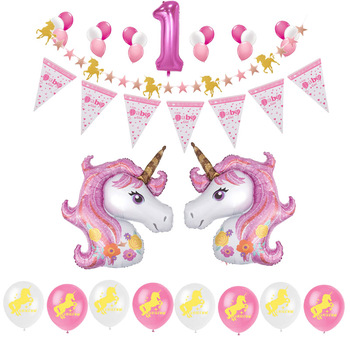 Unicorn Balloons Birthday Party Supplies For Kids 1st Themes Baby Shower Decorations