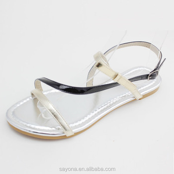 Standard Size Bright Color Latest Ladies Flat Sandals Designs ...