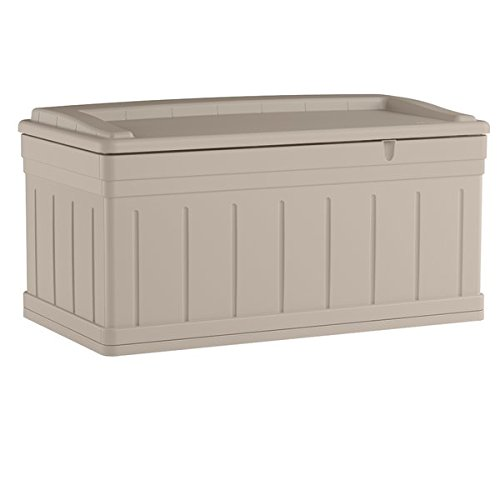 Roomy 129 Gallon Resin Deck Box, Storage Tray for Outdoor Accessories, Stay Dry Design, Snap Lock, Waterproof, Ample Extra Storage, Can Be Used as a Comfortable Seating for 2 Adults
