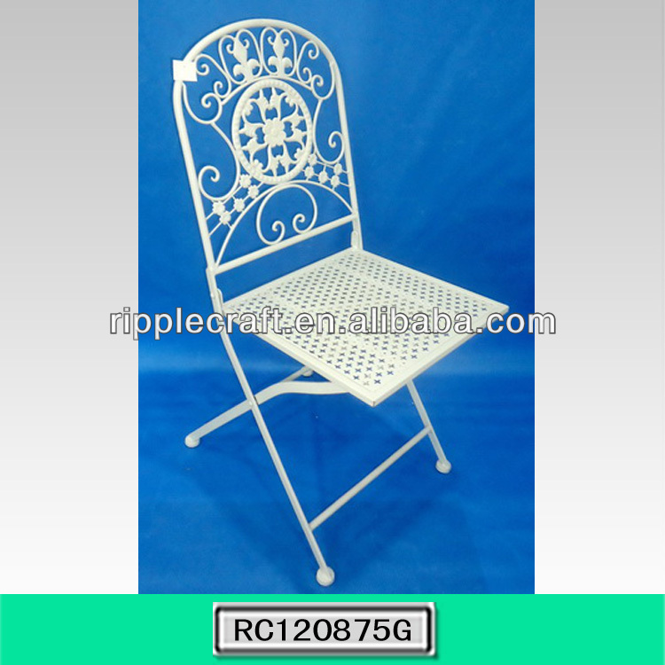 Mesh Top Antique White Square Metal Folding Chair