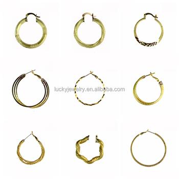 Brazilian Gold Jewelry Whole Hypo Allergenic 22k Plated Br Hoop Earrings Women For Sensitive Ears