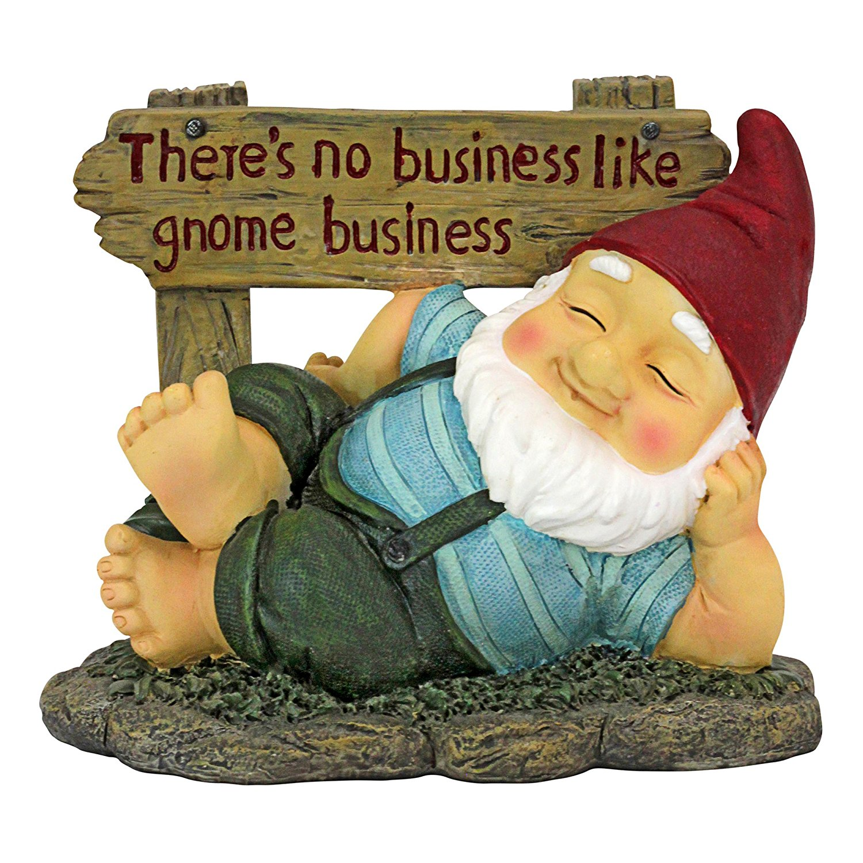 Design Toscano QL306802 Irving Gnomlin Resting On His Laurels Garden Statue Gnome, One Size, Multicolor