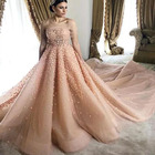 A Line 3D Flowers Bridal Gown Long Tail Arabic Color Wedding Dress in DuBai