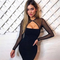 Shihan D1079 2019 New Fashion Women Bandage Dress Sexy Mesh Hollow Out Round Neck Sleeveless Mini Party Bodycon Dress