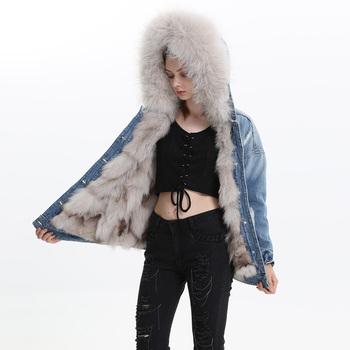 52d5bbac86 Women Winter Short Style Denim Jacket Real Raccoon Fur Collar Wholesale  Natural Fox Fur Lining Jean