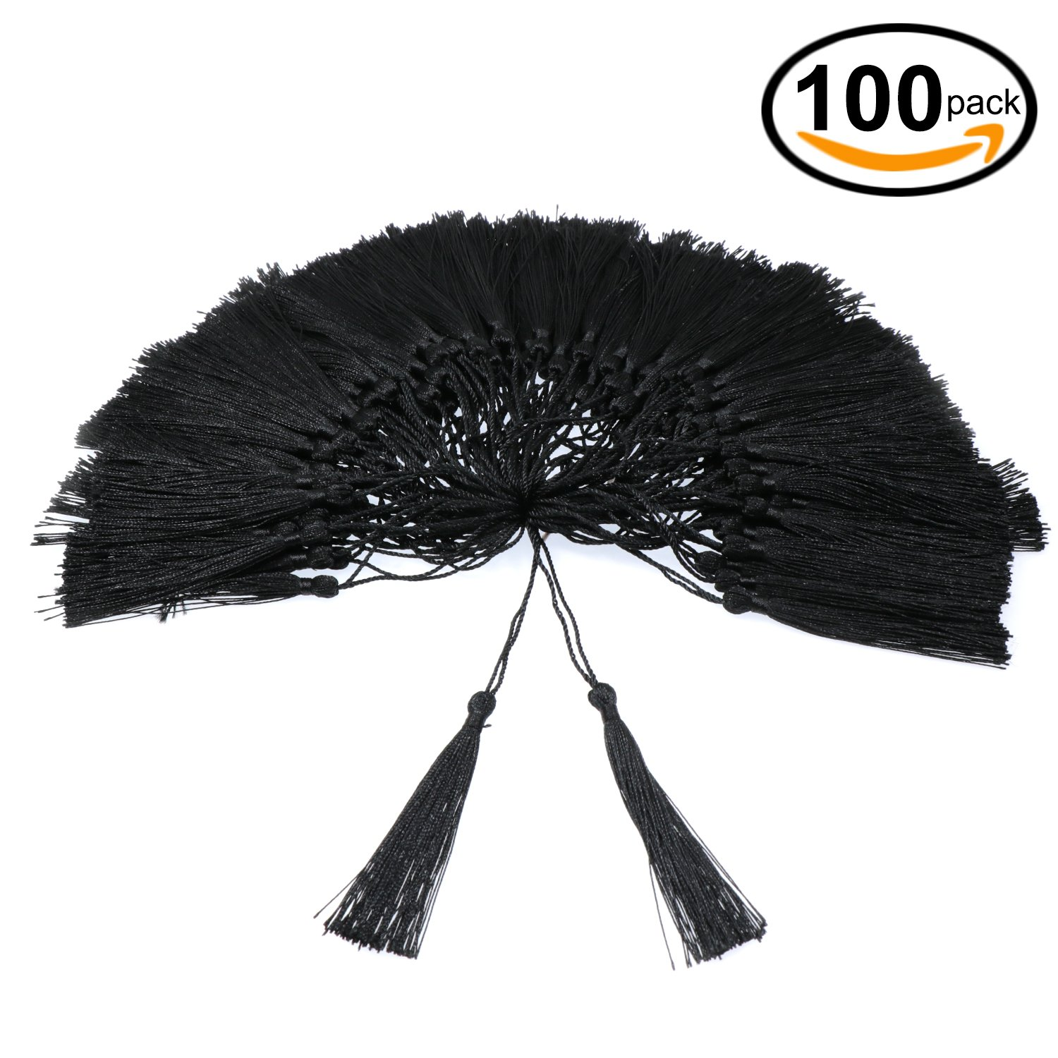 VAPKER 100 Pieces Black Tassels 13cm/5-Inch Silky Handmade Soft Tassels Floss bookmark Tassels with 2-Inch Cord Loop for Jewelry Making, DIY Projects, Bookmarks